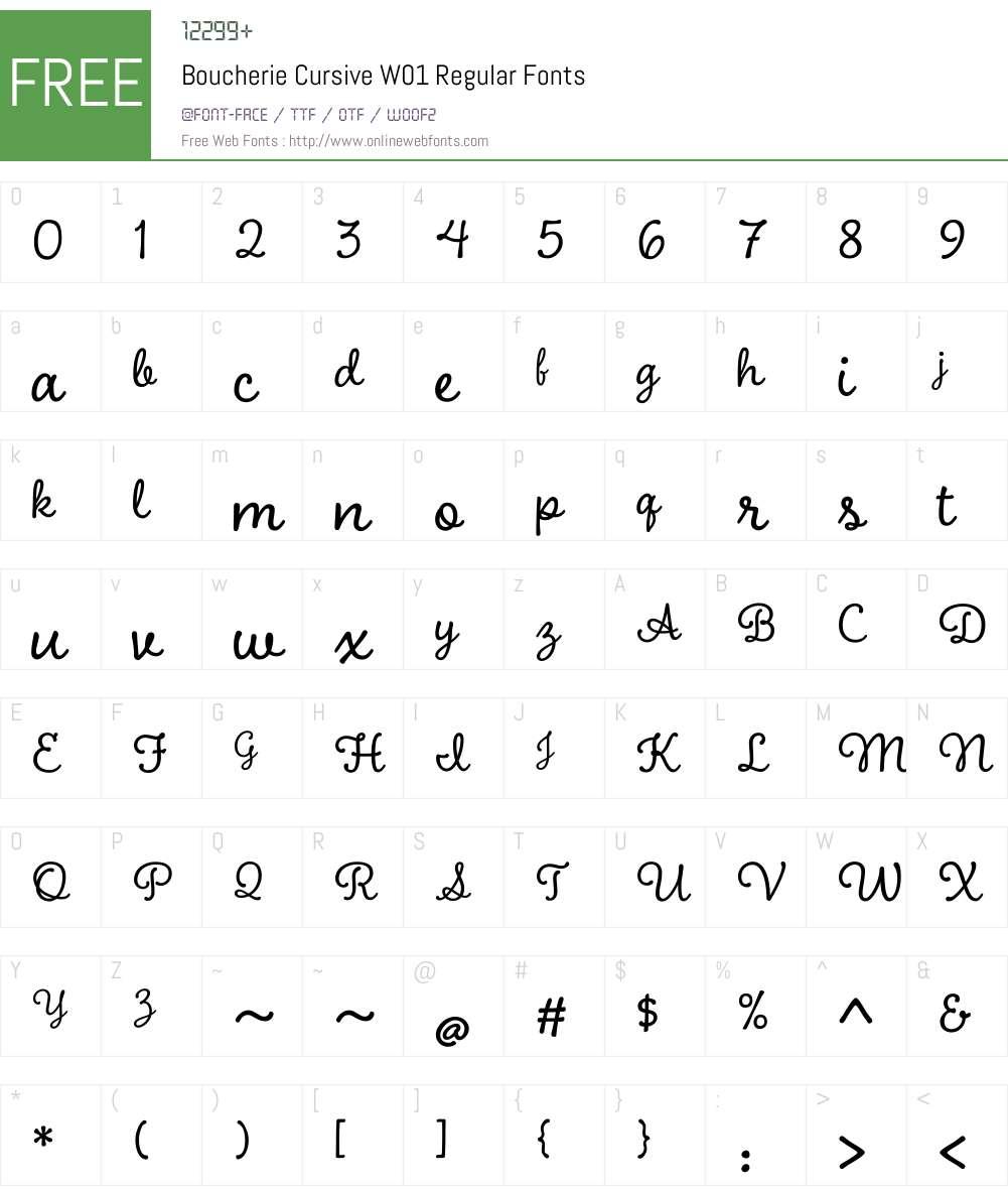 BoucherieCursiveW01-Regular Font Screenshots