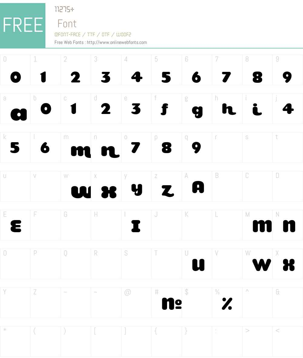 TeaspoonAltW90-Regular Font Screenshots