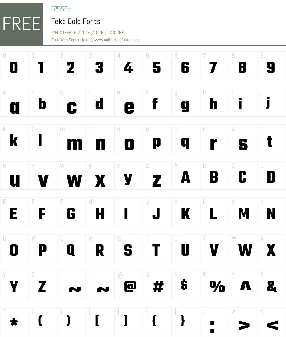 Teko Bold Font Screenshots