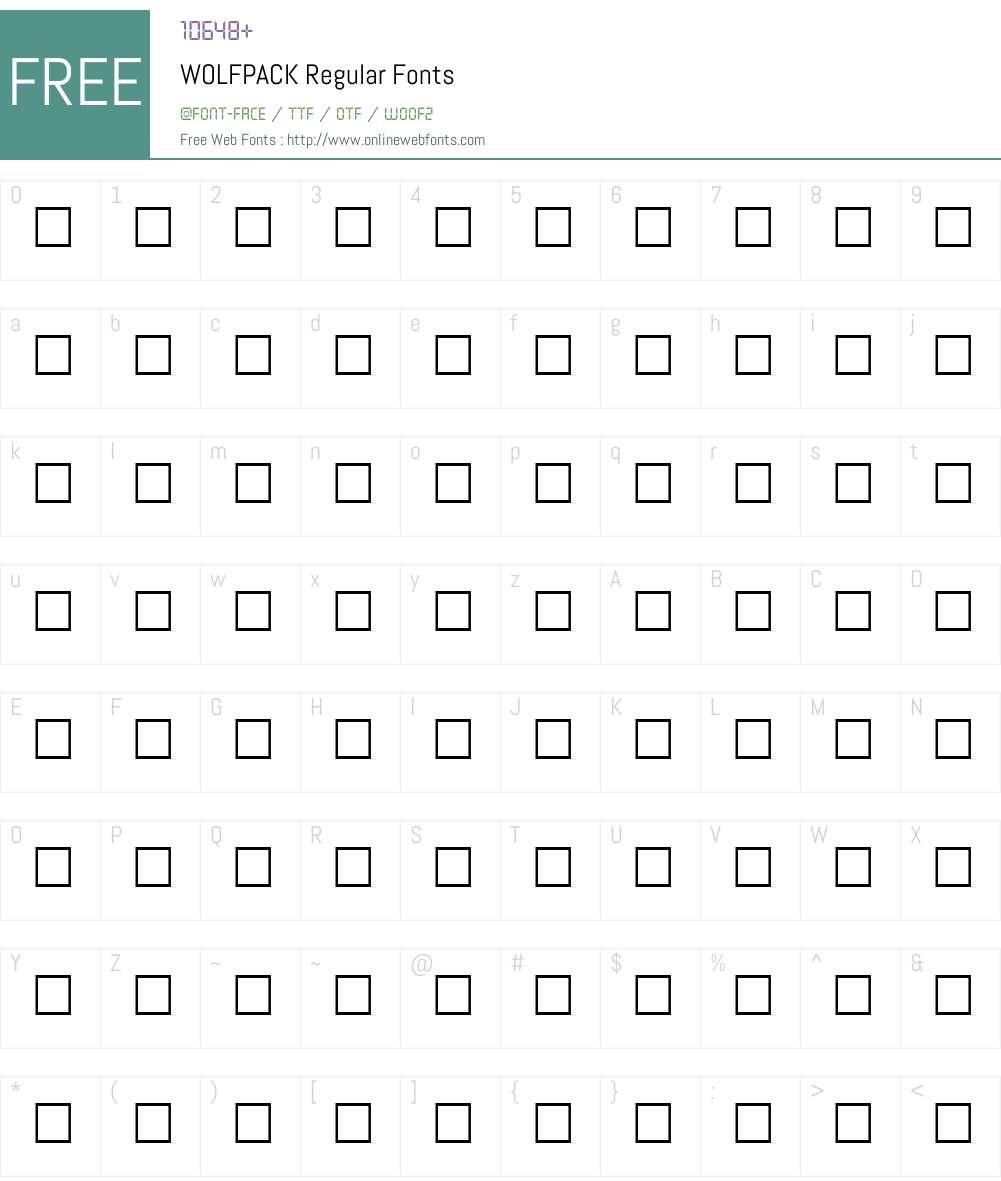 WOLFPACK Font Screenshots
