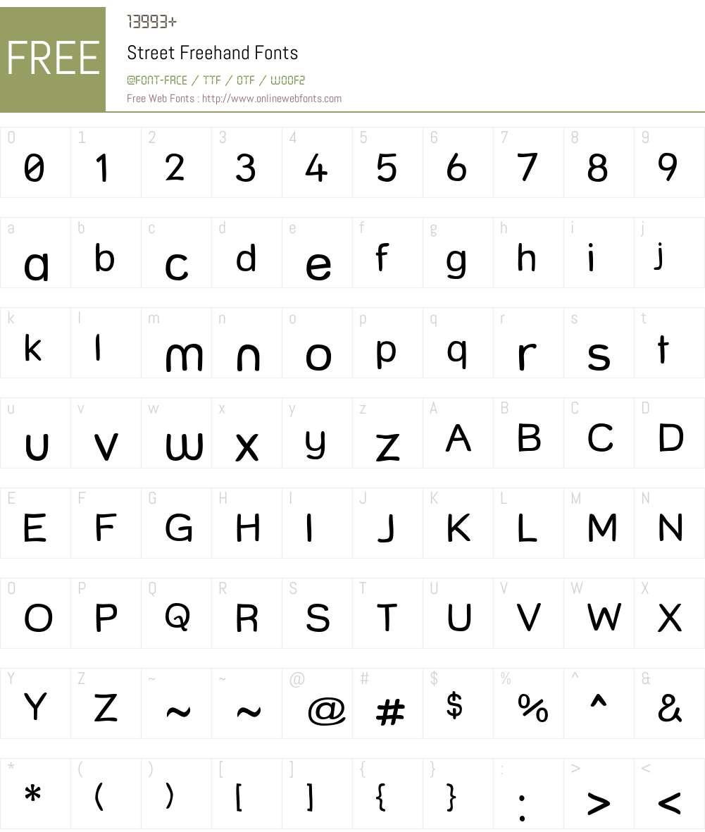 Street Freehand Font Screenshots