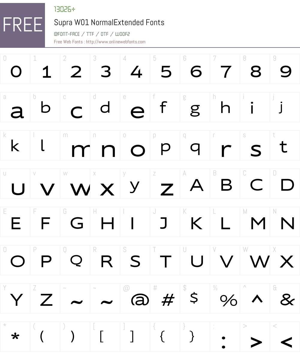 SupraW01-NormalExtended Font Screenshots