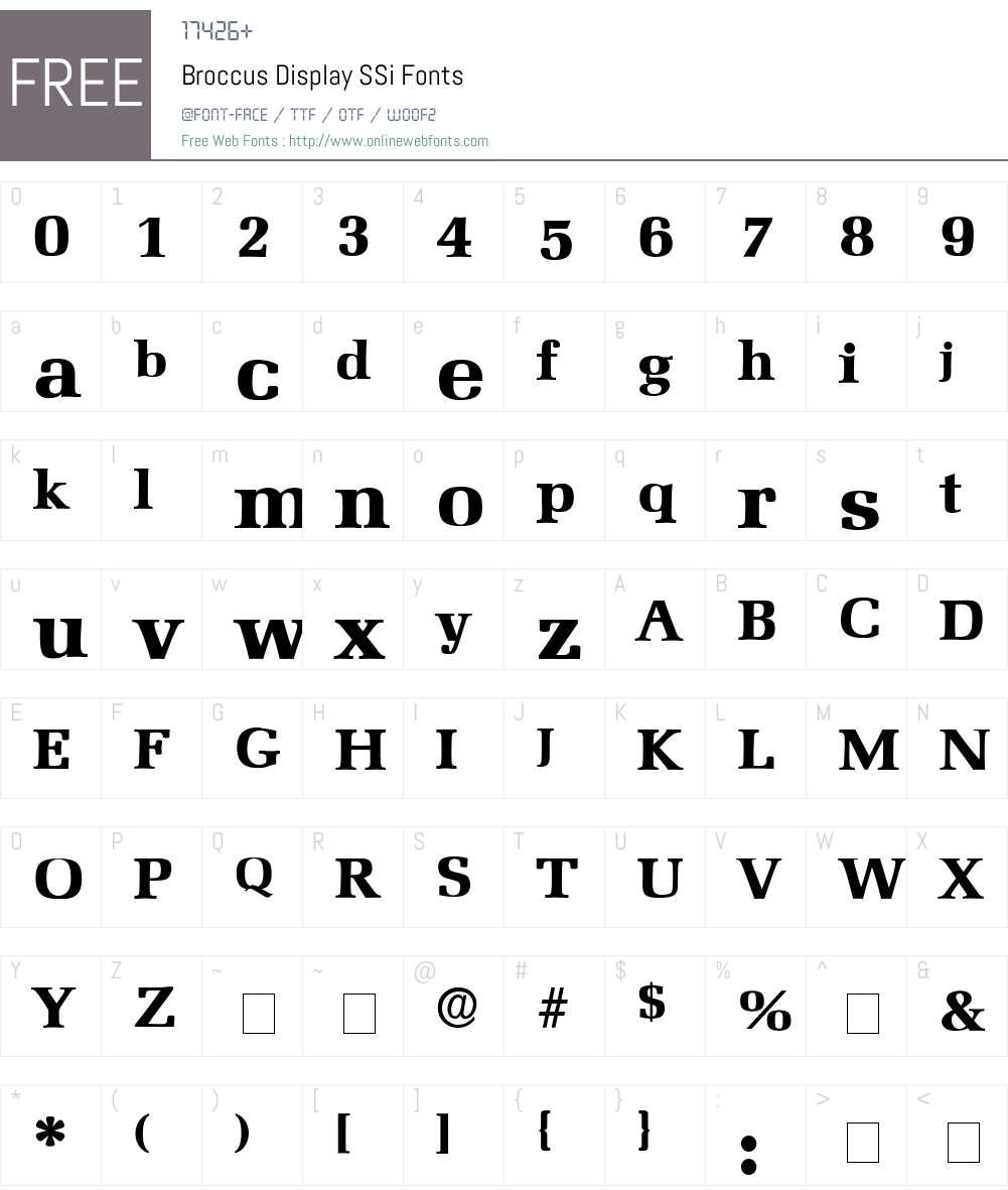 Broccus Display SSi Font Screenshots