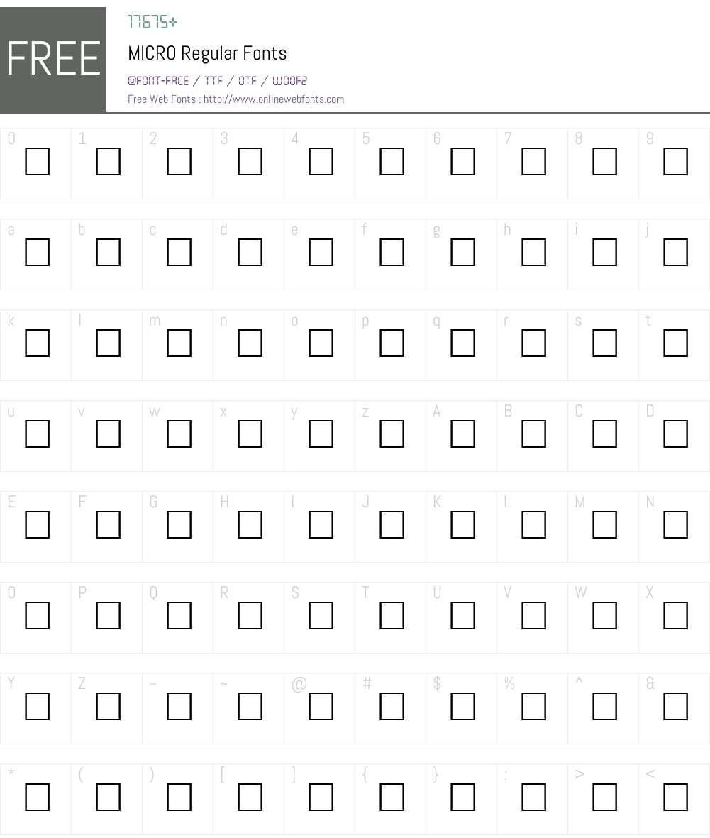 MICRO Font Screenshots