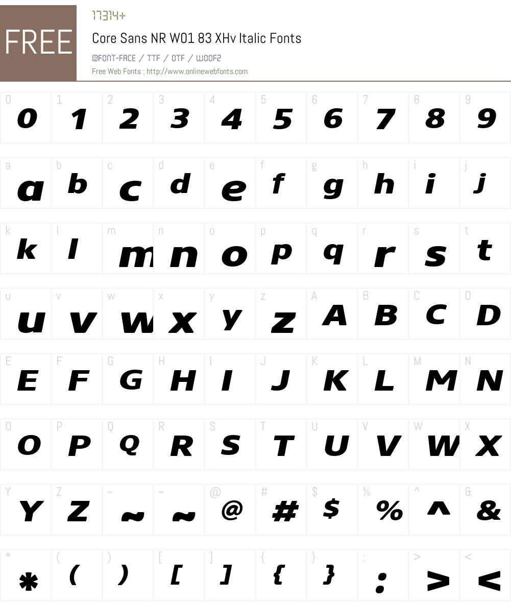CoreSansNRW01-83XHvItalic Font Screenshots