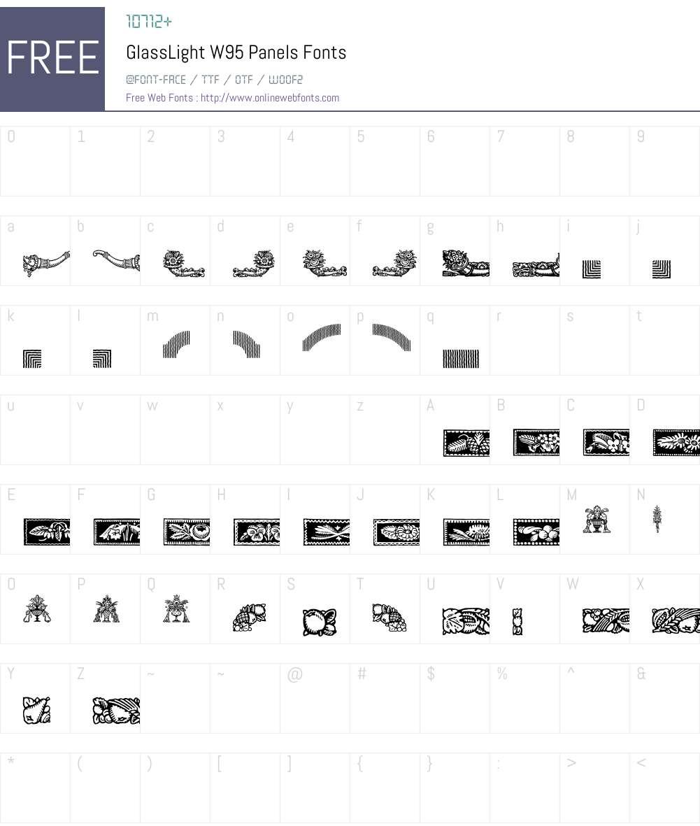 GlassLightW95-Panels Font Screenshots
