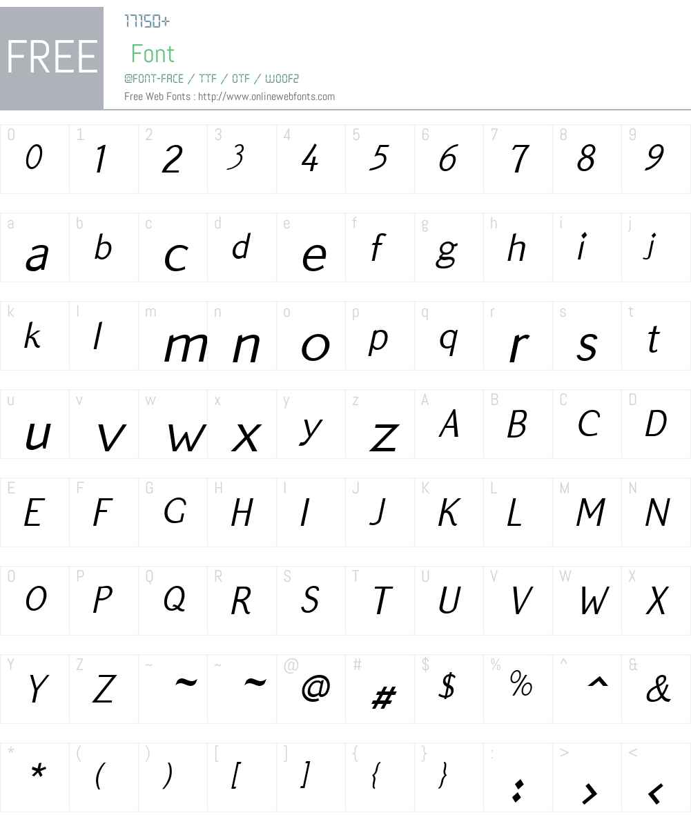 QuickTypeW01-SansItalic Font Screenshots