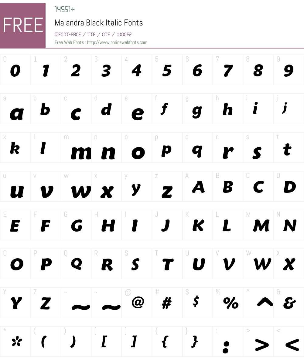 Maiandra Blk It Font Screenshots