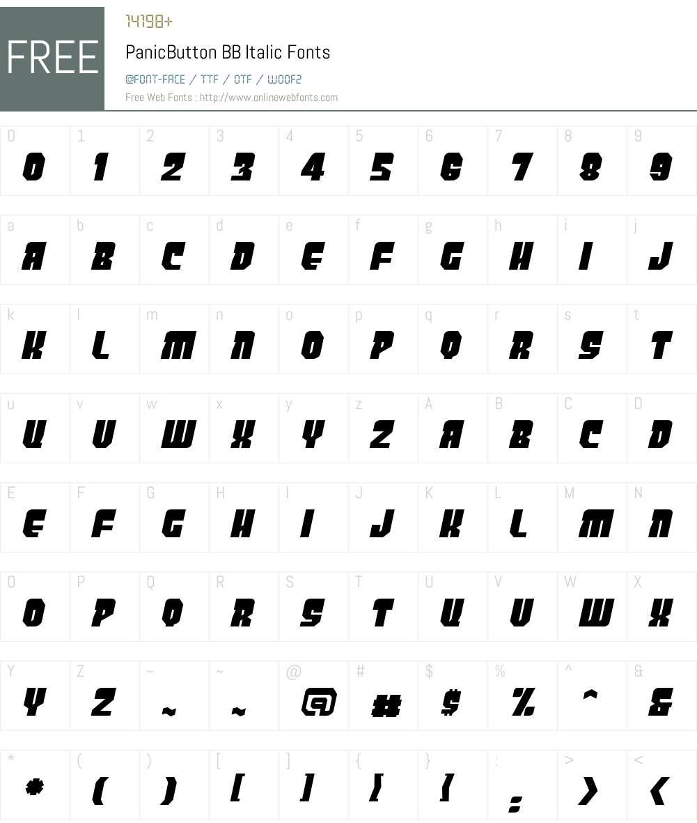 PanicButton BB Font Screenshots