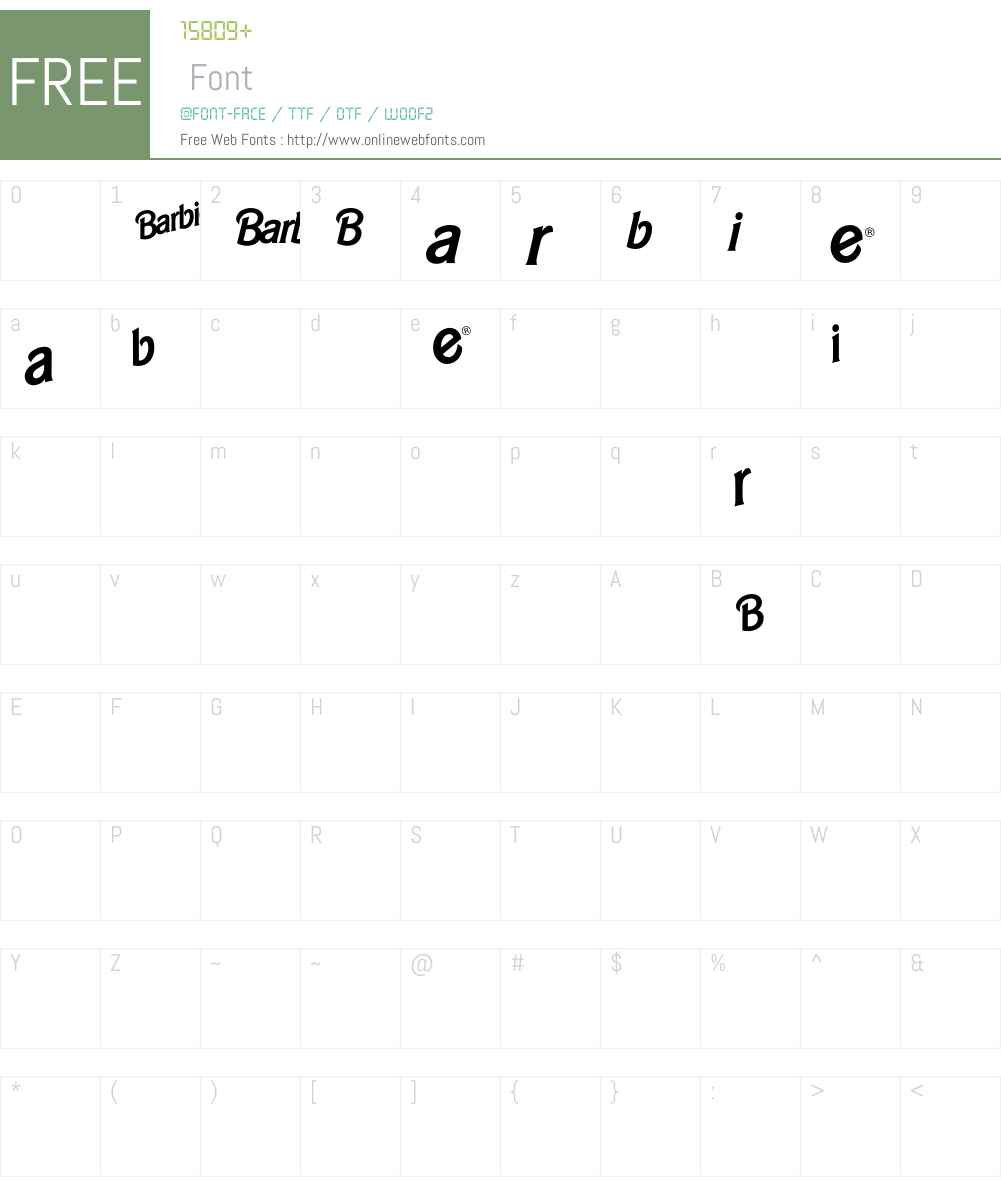 BarbieLogo Font Screenshots