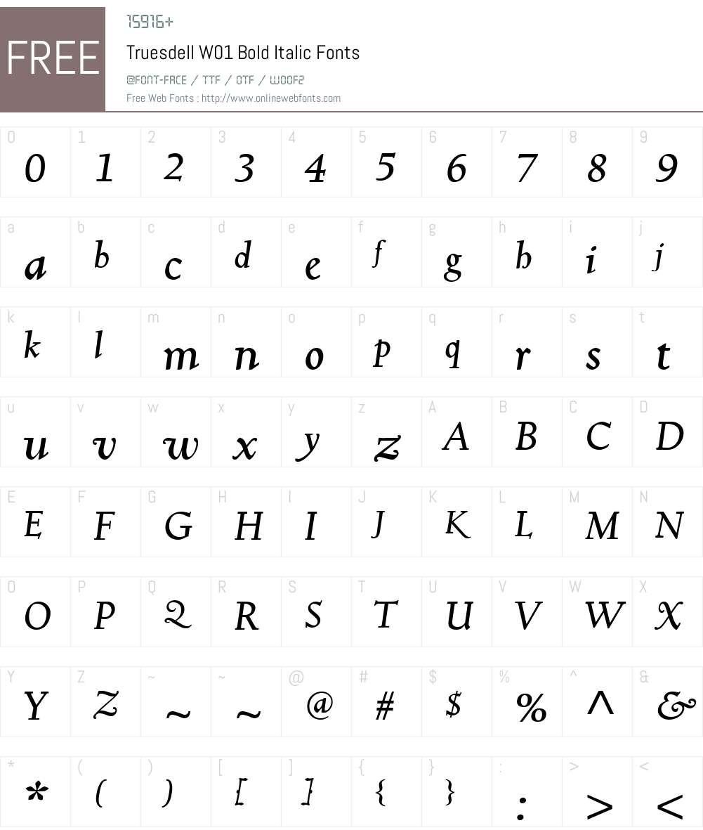 TruesdellW01-BoldItalic Font Screenshots