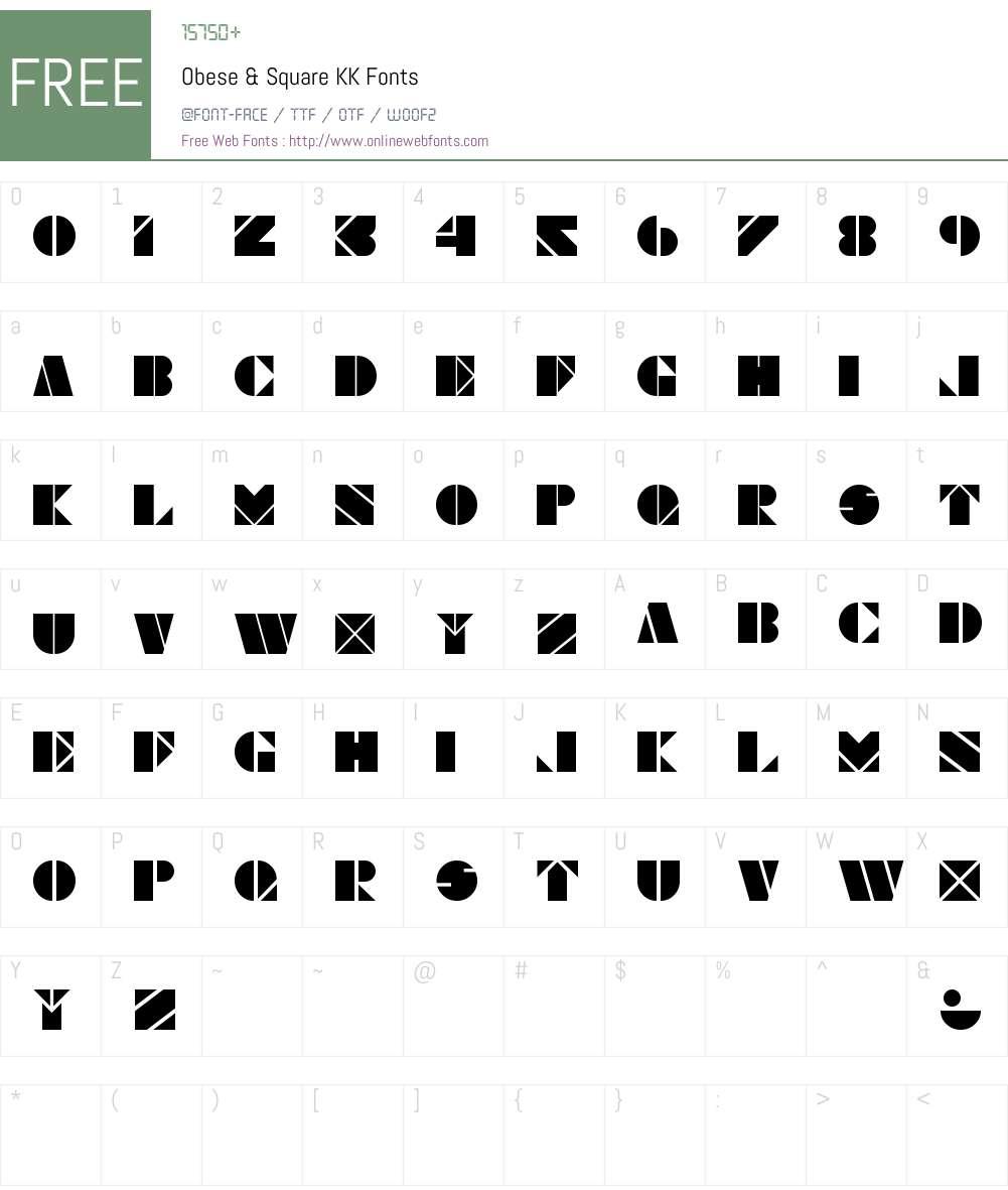 Obese & Square KK Font Screenshots