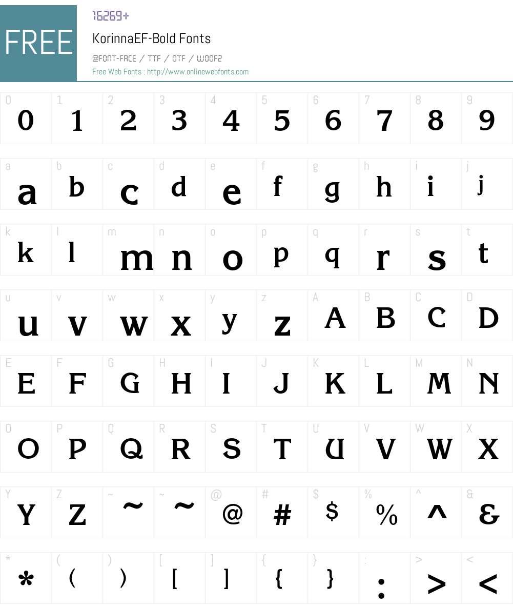 KorinnaEF-Bold Font Screenshots