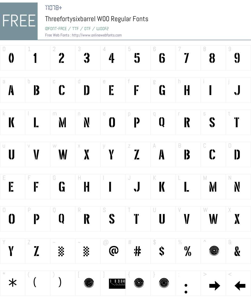ThreefortysixbarrelW00-Rg Font Screenshots