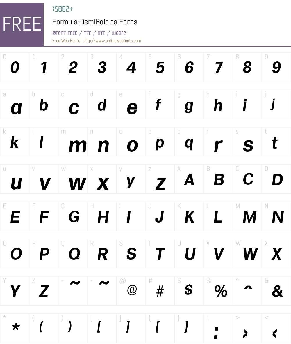 Formula-DemiBoldIta Font Screenshots
