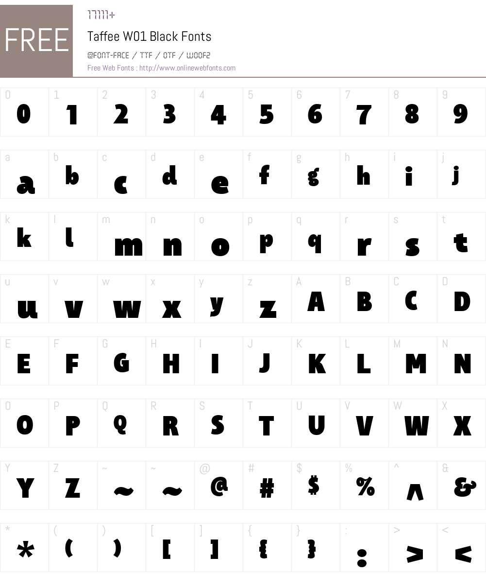TaffeeW01-Black Font Screenshots