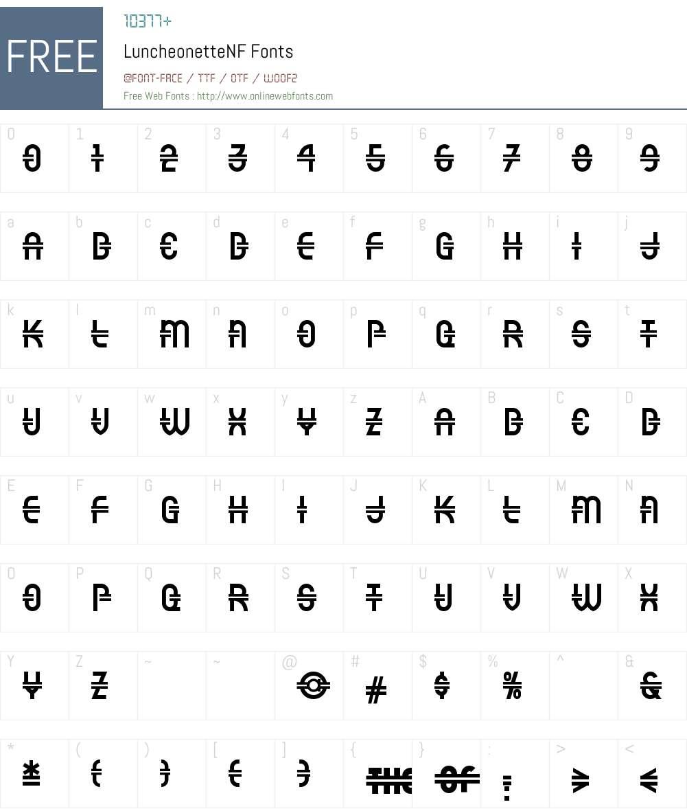 Luncheonette NF Font Screenshots