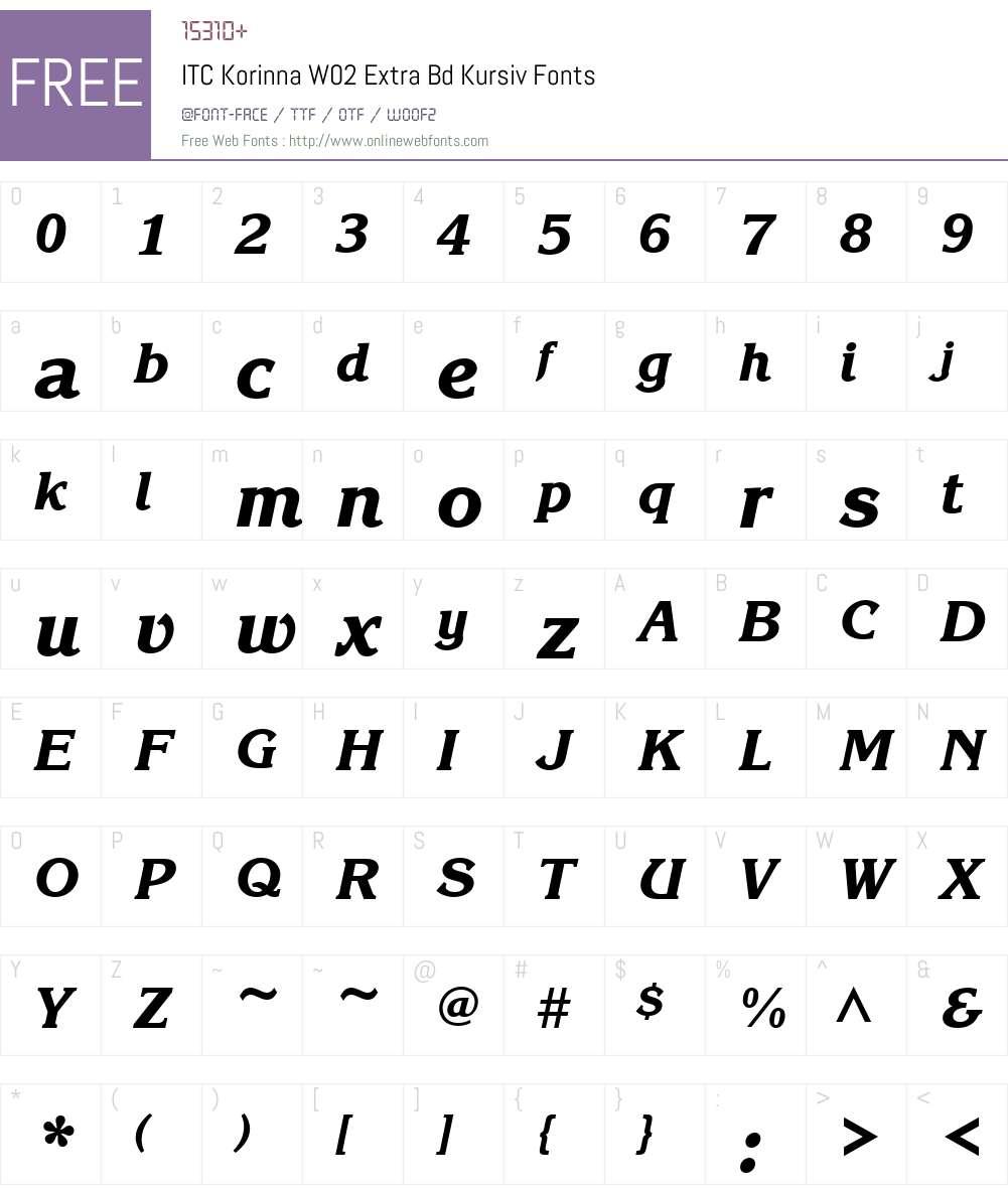 ITCKorinnaW02-ExtraBdKursiv Font Screenshots