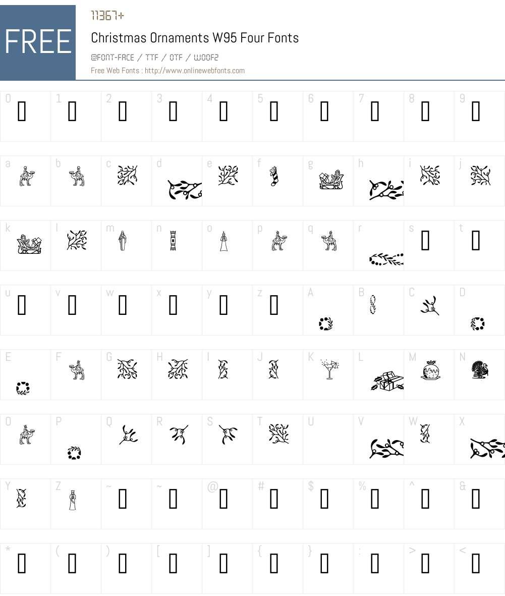 ChristmasOrnamentsW95-Four Font Screenshots