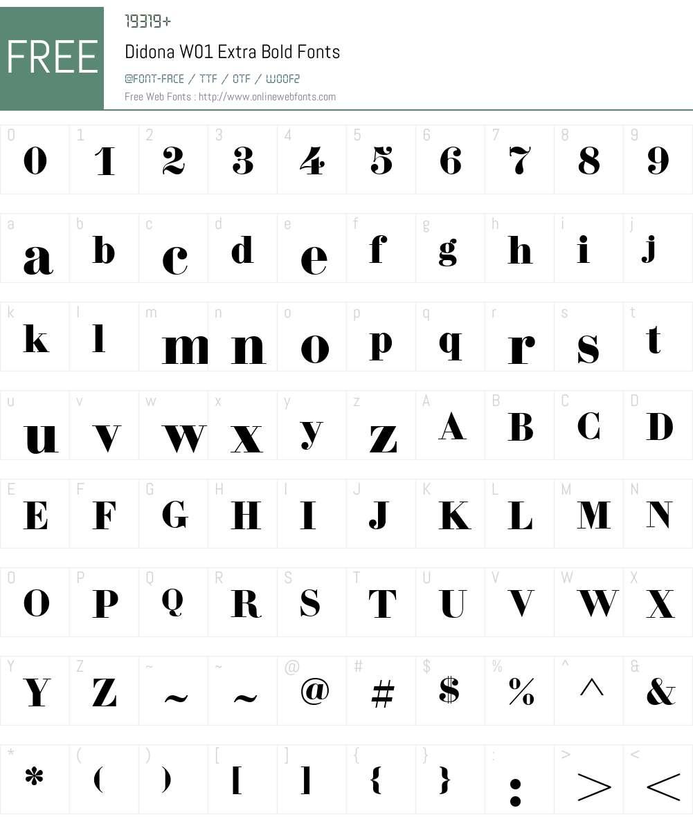 DidonaW01-ExtraBold Font Screenshots