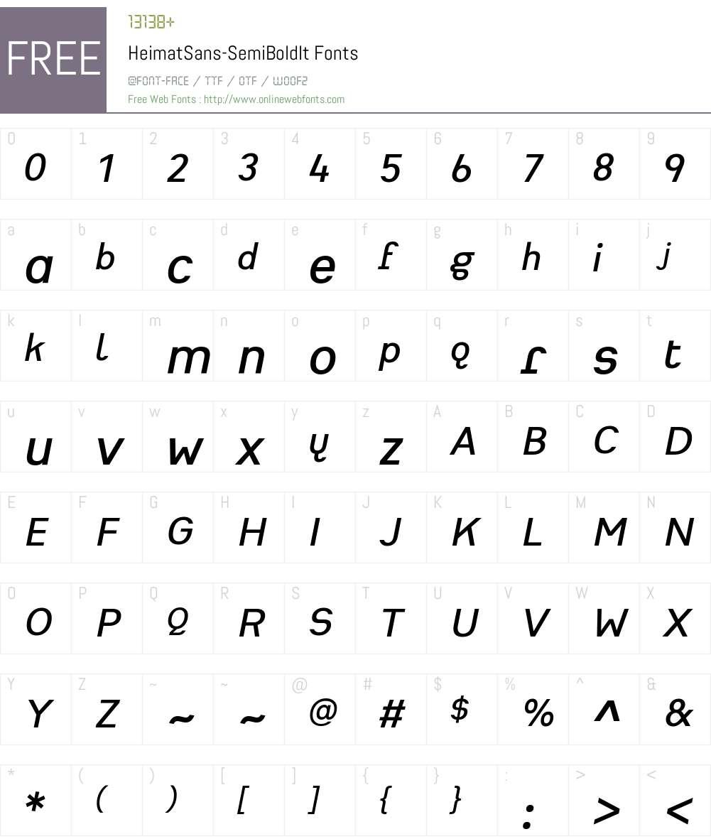 Heimat Sans SemiBold Font Screenshots