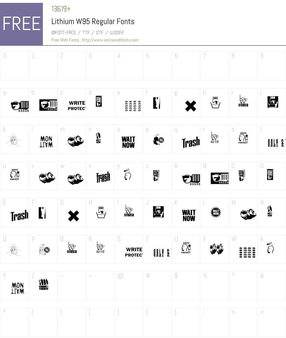 Lithium Font Screenshots