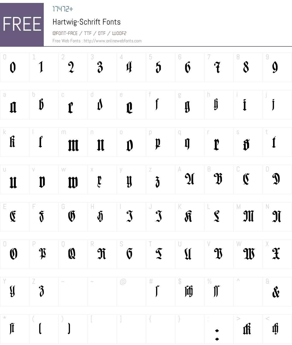Hartwig-Schrift Font Screenshots