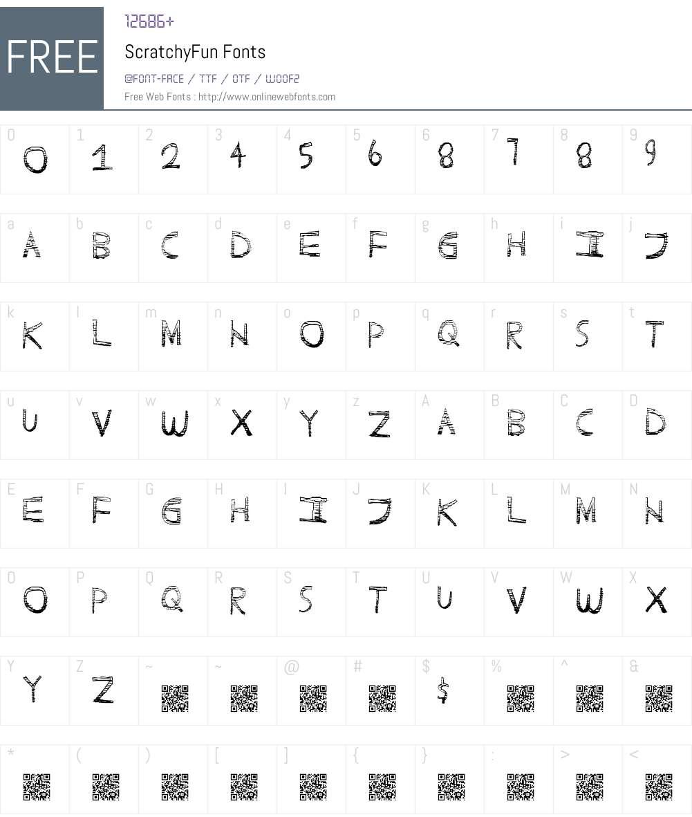 ScratchyFun Font Screenshots