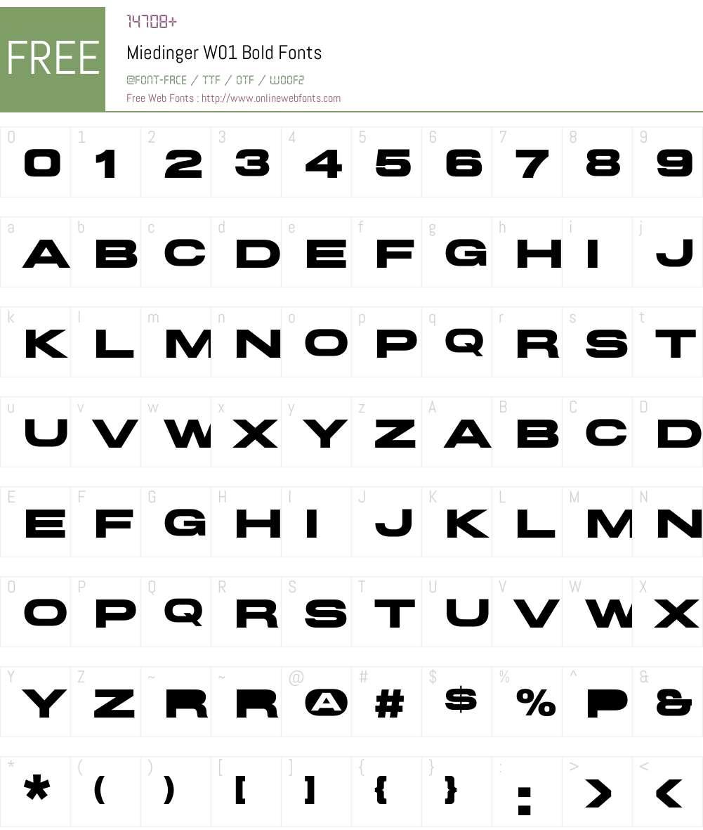 MiedingerW01-Bold Font Screenshots
