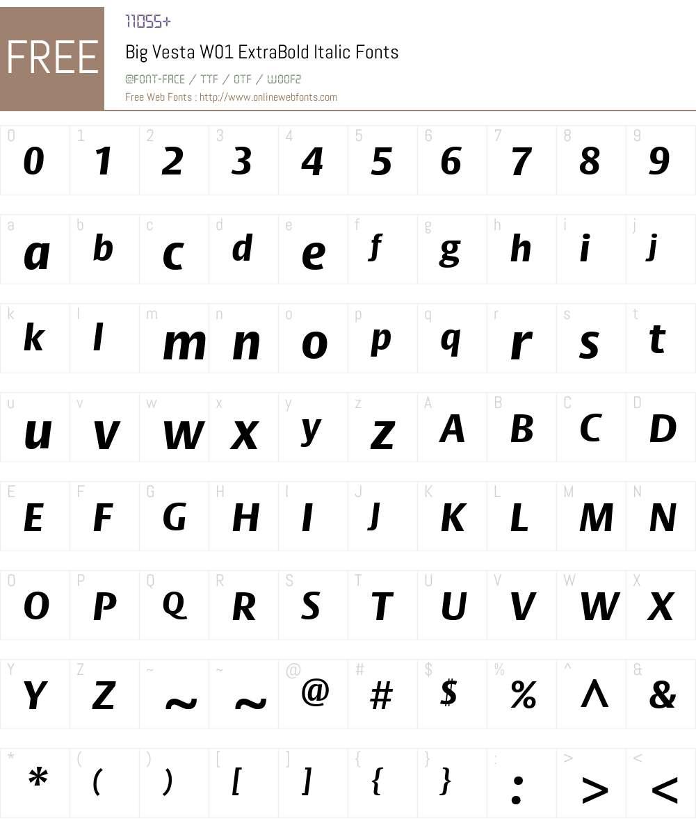 BigVestaW01-ExtraBoldItalic Font Screenshots