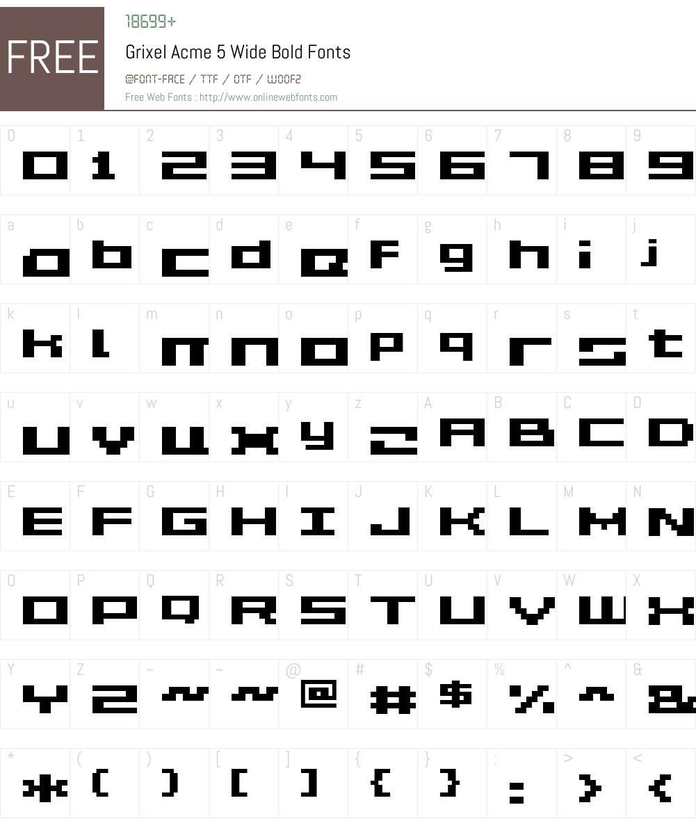 Grixel Acme 5 Wide Bold Font Screenshots