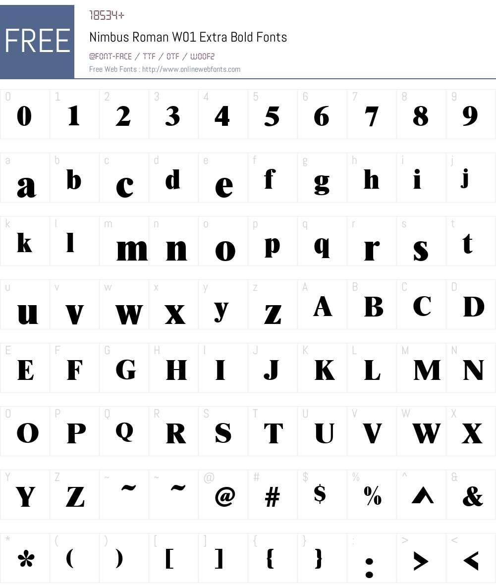 NimbusRomanW01-ExtraBold Font Screenshots