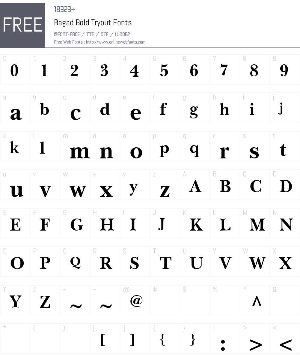Bagad Bold Tryout Font Screenshots