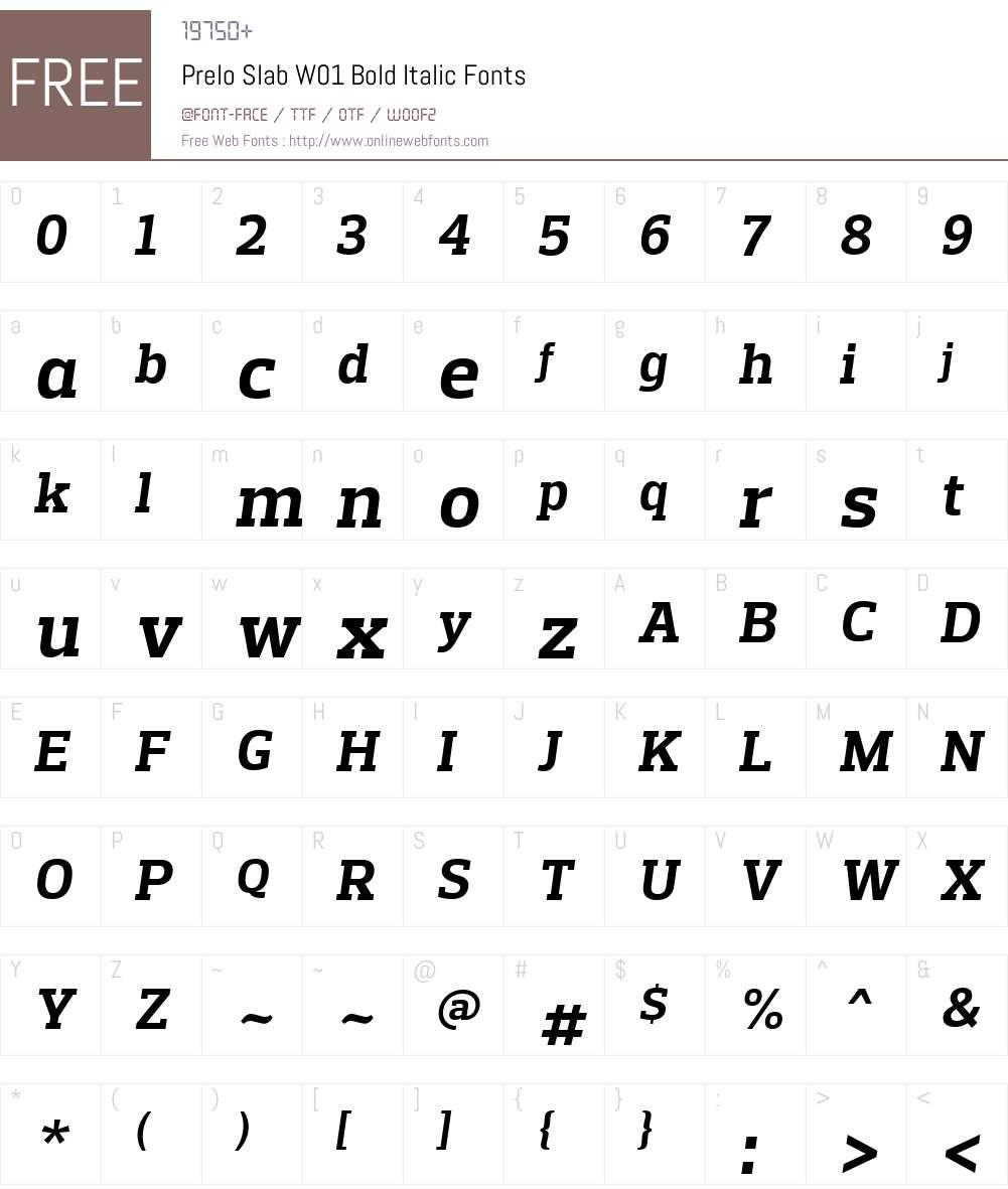 PreloSlabW01-BoldItalic Font Screenshots