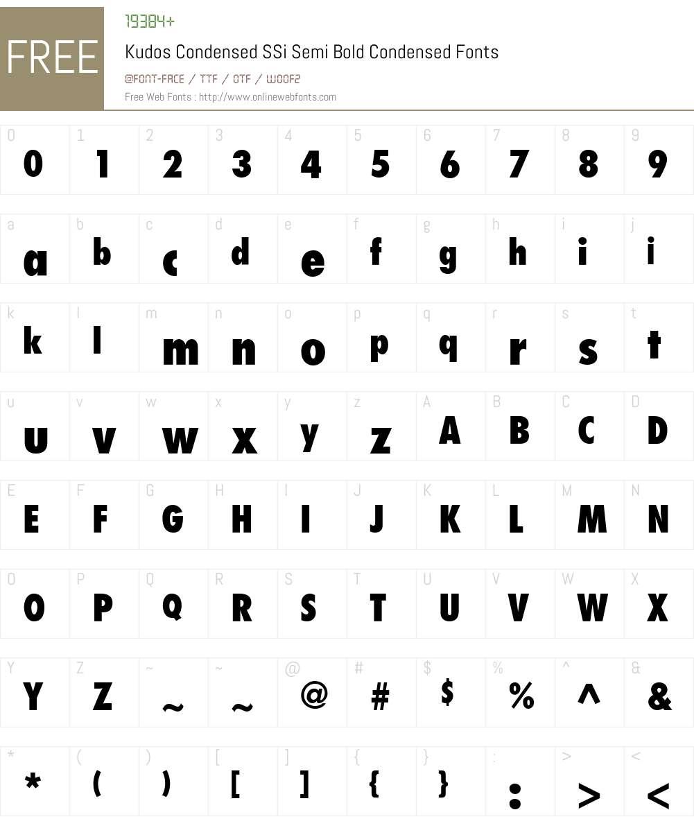 Kudos Condensed SSi Font Screenshots