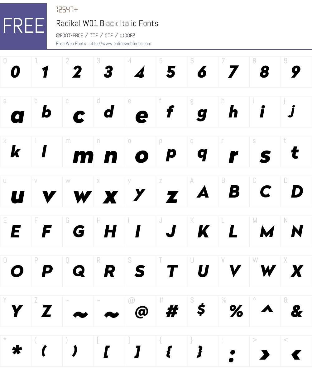 RadikalW01-BlackItalic Font Screenshots