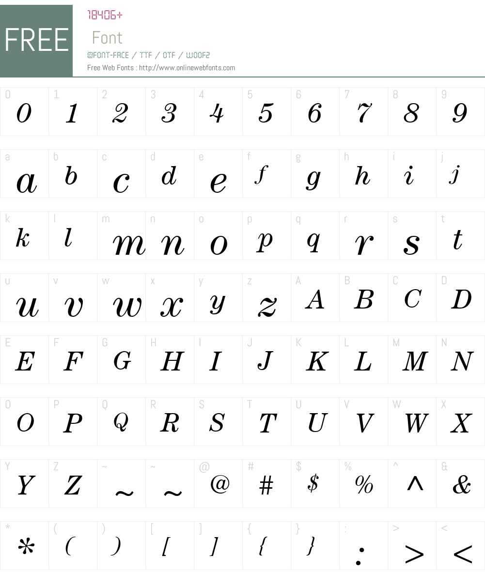 ITCCenturyW01-BookItalic Font Screenshots