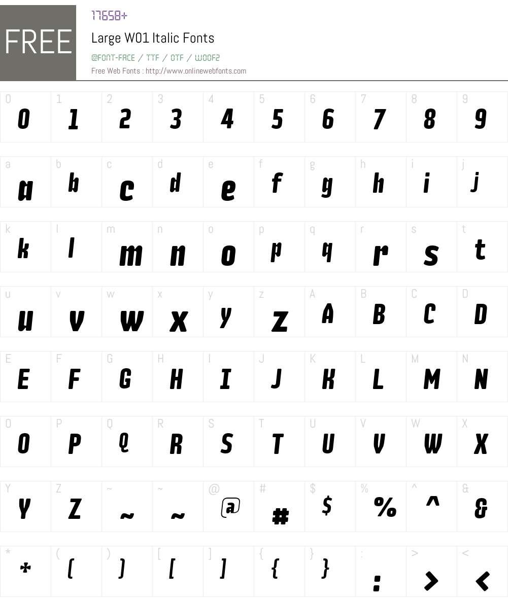 LargeW01-Italic Font Screenshots