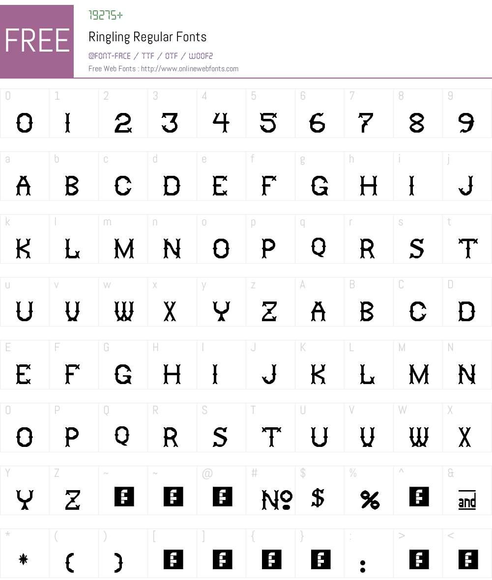 Ringling Font Screenshots