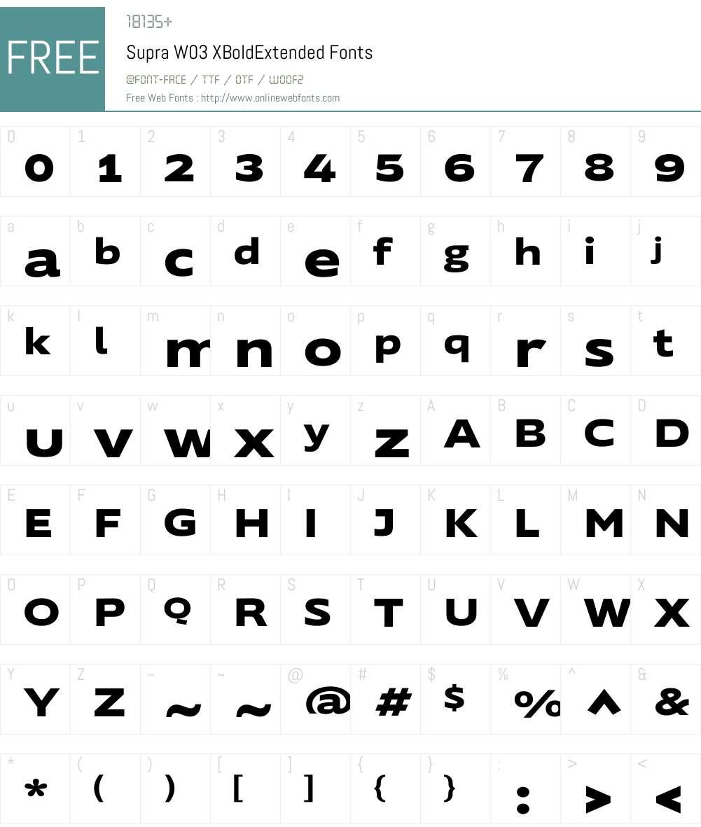 Supra Extended Font Screenshots