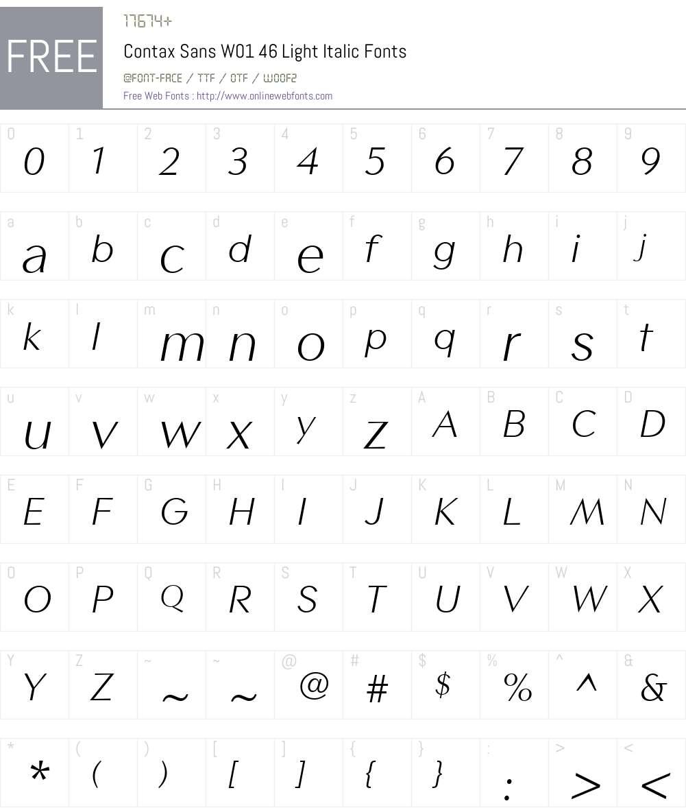 ContaxSansW01-46LightItalic Font Screenshots