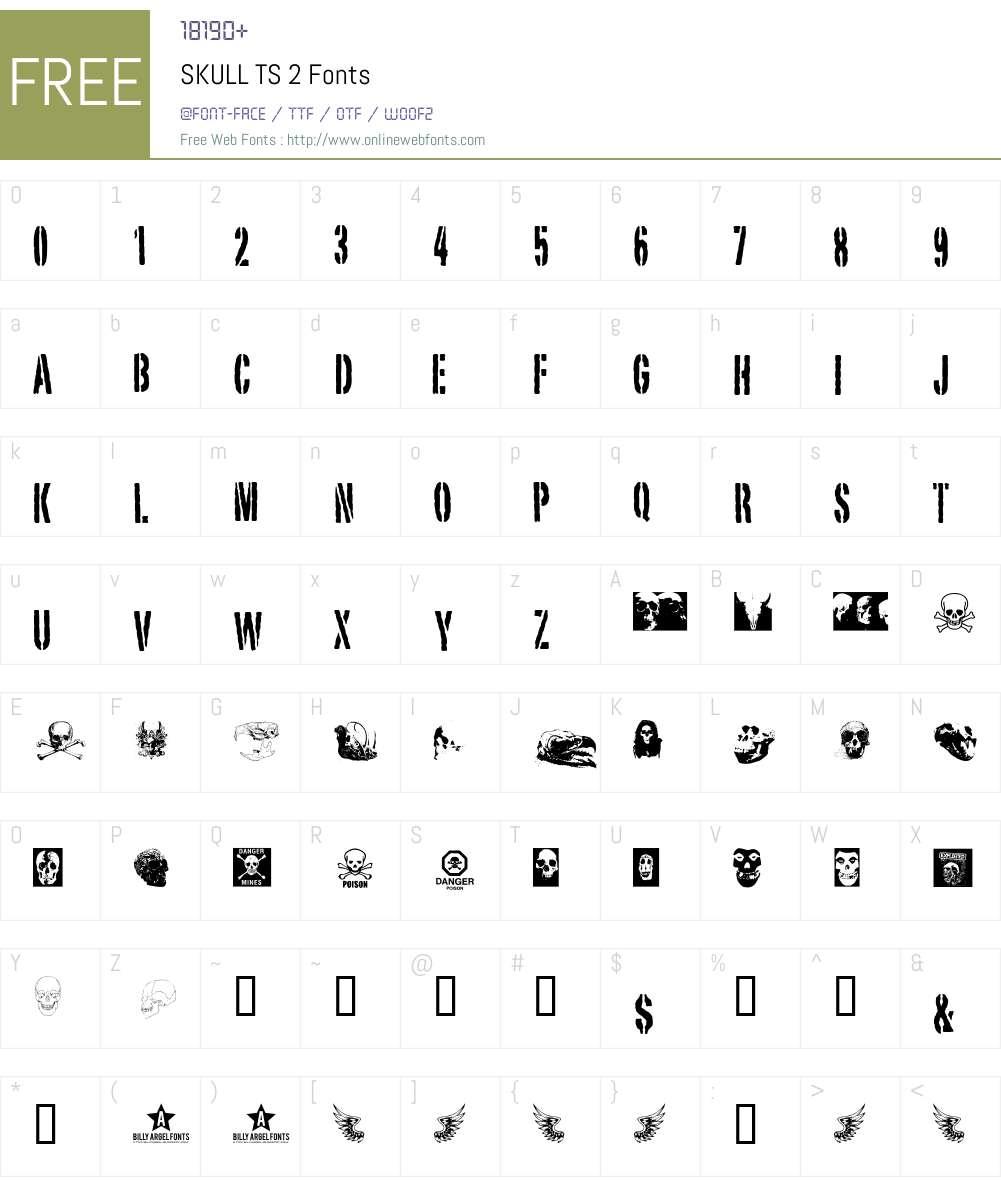SKULL TS 2 Font Screenshots