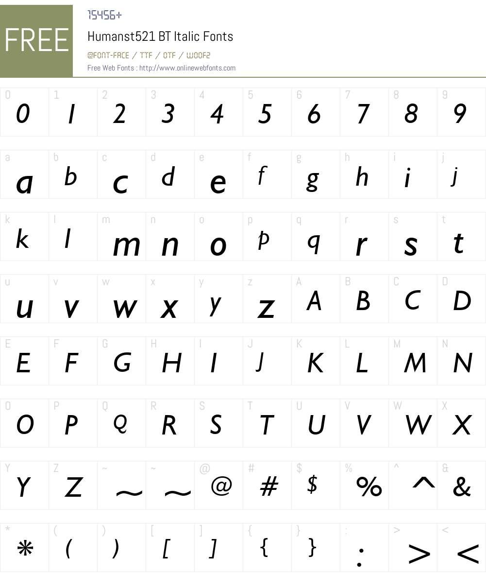 Humanst521 BT Font Screenshots