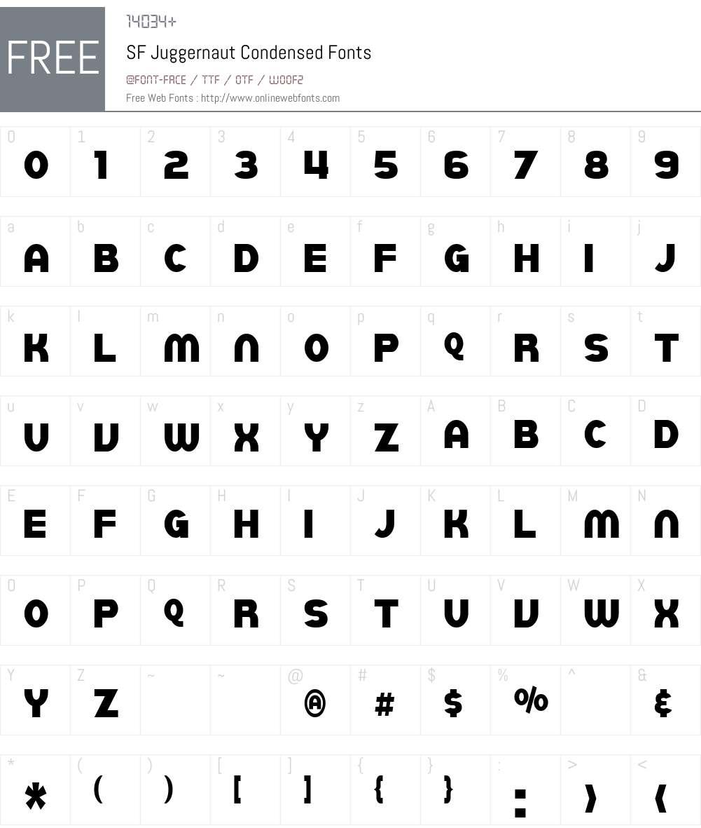 SF Juggernaut Condensed Font Screenshots