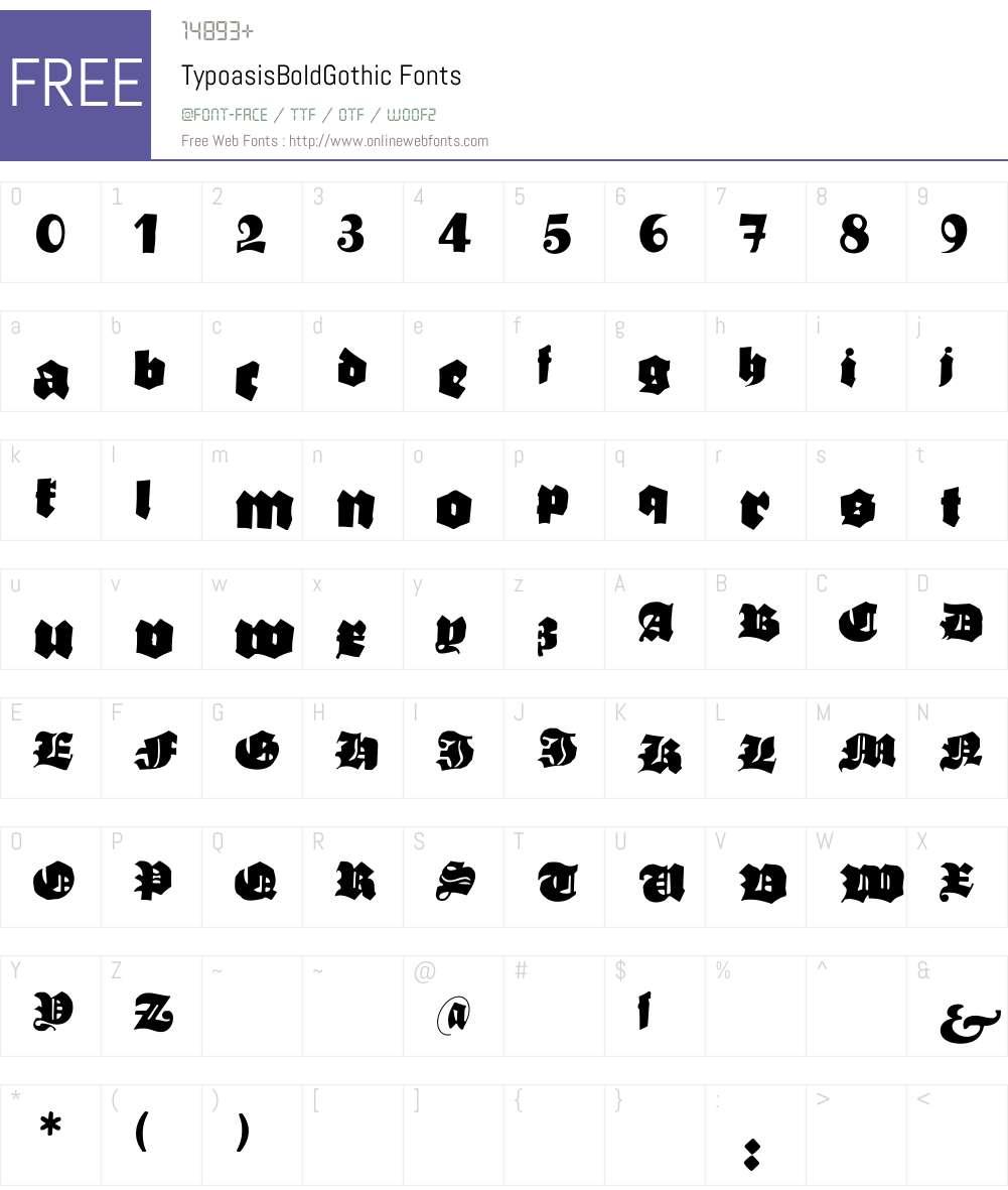 TypoasisBoldGothic Font Screenshots