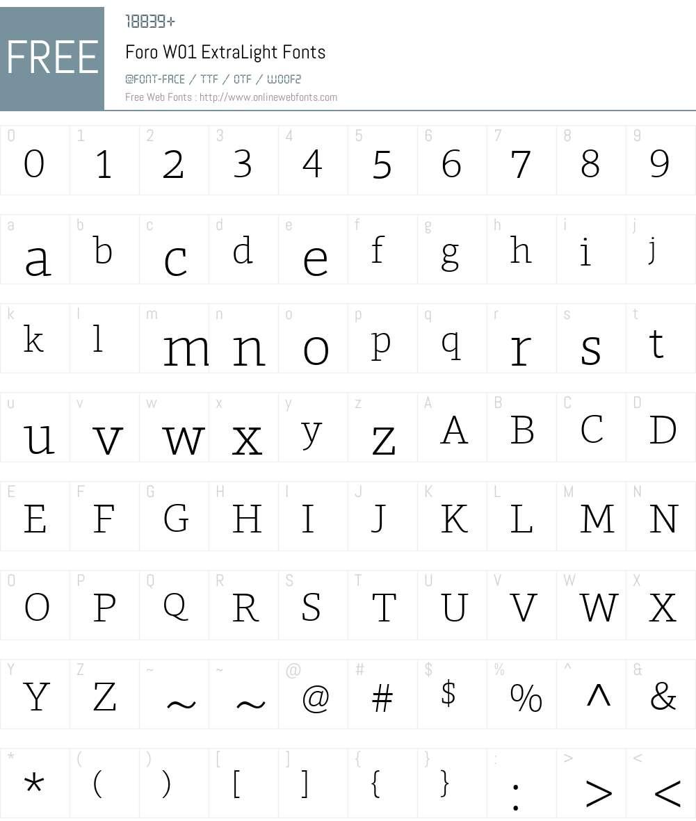 ForoW01-ExtraLight Font Screenshots