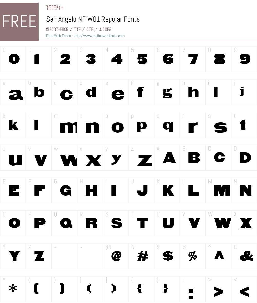 SanAngeloNFW01-Regular Font Screenshots