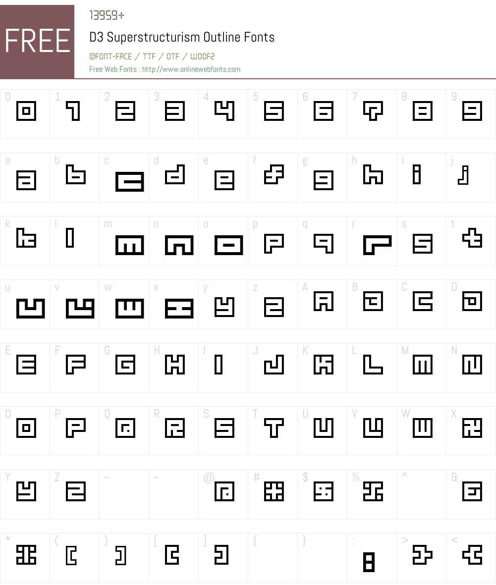 D3 Superstructurism Outline Font Screenshots