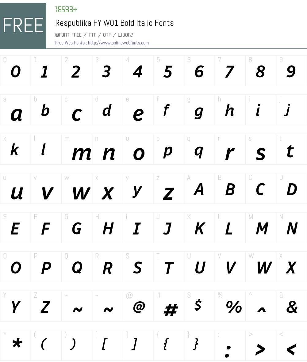 RespublikaFYW01-BoldItalic Font Screenshots