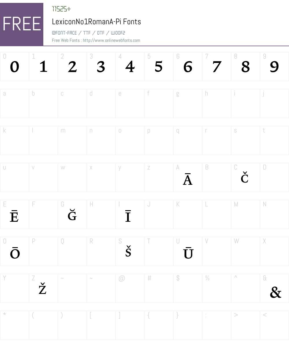 LexiconNo1RomanA Font Screenshots